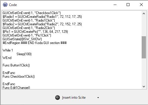 Koda イベントモードでソース生成