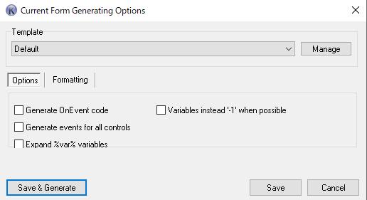 Kodaオプション OnEvent codeモードにする