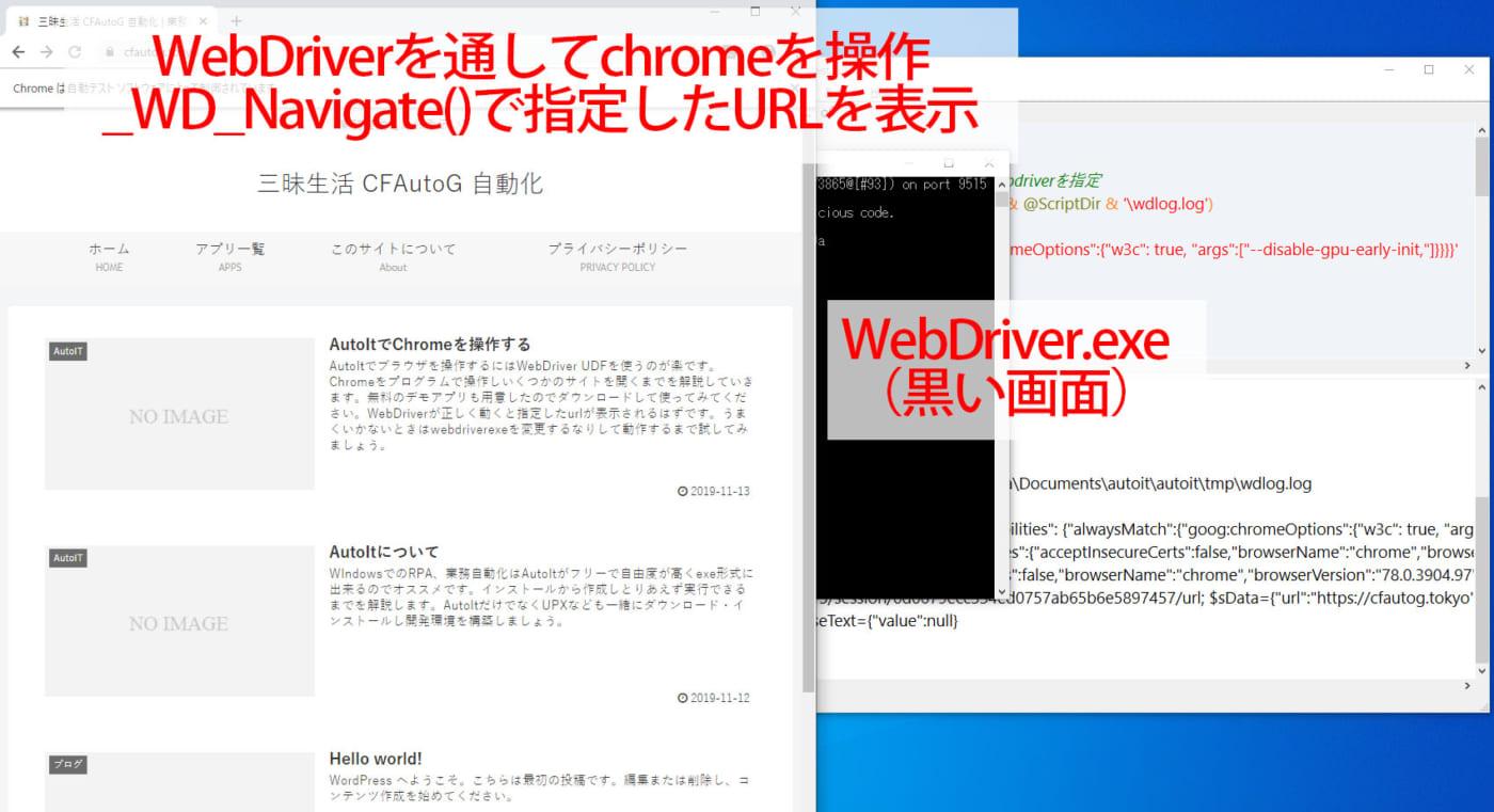 実行するとWebDriver(黒い画面)とChromeウィンドウが表示されます
